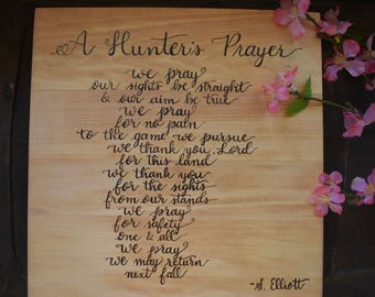 Wood Burned Pyrography A Hunter's Prayer Walnut Hollow Basswood Canvas Hand Lettered Rustic Wood Sign