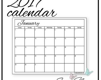 2017 Blank Calendar Printable (13 pg PDF, script font) - Passion Planner, Bujo, Happy Planner, Erin Condren