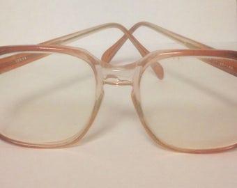 Vintage eye glasses/vintage prescription glasses/rose-brown colored eye frames/retro eye glasses