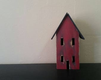 Mini Wooden House Painted and Distressed