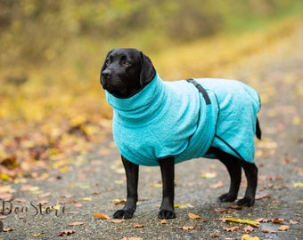 Dog Bathrobe aqua blue - Made to Order - Doggy bathrobe