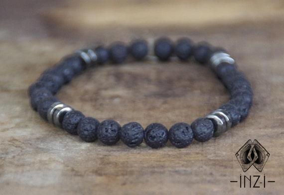Bracelet lava stone and hematite 6 mm INZ - I man - model Sam