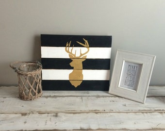 Black and Gold Decor- Deer Head Silhouette- Woodland Wall Art- Gifts for her- Kate Spade inspired Decor- Deer Head Wood- Cabin Decor