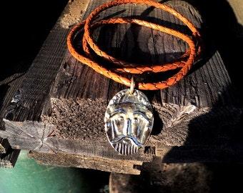 "Viking Amulet "" Viking mask."" Handmade bronze."
