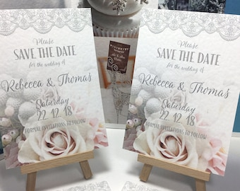 SAVE the DATE cards Winter Bouquet and Lace in Blush Pinks and Silver PERSONALISED and digitally wax printed on textured card stock