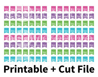 Cute Baton Twirler Flags - Printable Planner Stickers + Cut File - AL-008 - INSTANT DOWNLOAD