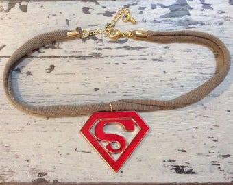 red and olive super woman enamel choker necklace boho handmade shop local  monogram