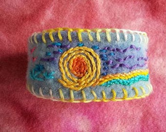 Hand embroidered recycled wool bracelet