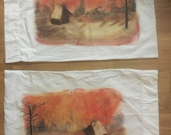 Hand painted cabin in the wood scene 1 set of 2 pillow cases