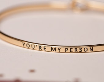 "Bangle Bracelet, ""You're My Person"", greys anatomy, phrase bangle"