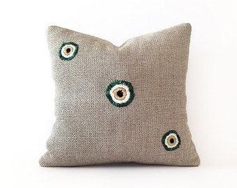 Cotton Embroidered Pillow Bead Decorative Cover Cushion Pillow Cover Throw Pillow Cotton Pillow Accent Sofa Pillows (Double Sided) 16''x16''