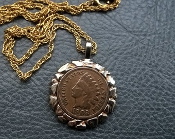 Vintage Coin Pendant  Original Chain