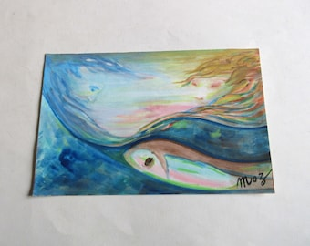 vintage 80's original watercolor painting, signed Moz