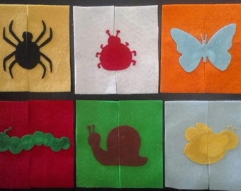 Free Shipping - Toddler felt animal puzzles - insects, zoo, pets, Australian