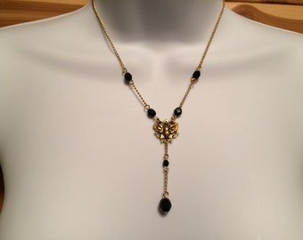 Y Necklace Butterfly, Black Czech Glass Beads, Antiqued