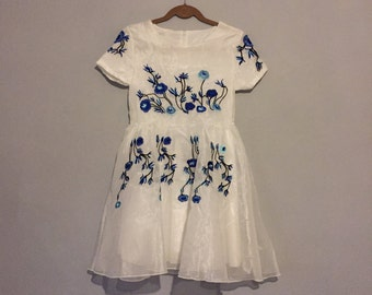 White & Blue Embroidered Dress - Ethereal - Magical
