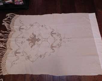 Antique european beige bed cover but could be made into a drape/curtain. Beautiful! Macrame fringe and delicate lace. Just stunning.