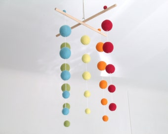 "Mobile mixed Suspension ""5 colors of Rainbow"" felted balls"
