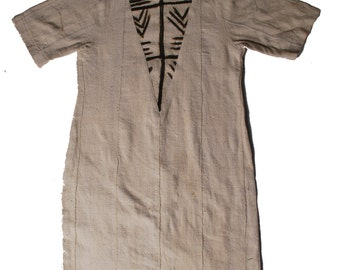 mud cloth dress with front patch v-insert