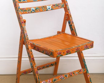 Upcycled Hand Painted Orange Folk Inspired Floral Wooden Chair