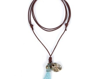 Leather tassel necklace - leather shell necklace - Boho design  hand made jewelry