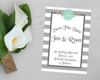 Gray Striped Save the Date-Save the Date Card-Gray with Pastel Flowers Save the Date Card-Blue Flower Save the Date Card-Casual Save Date