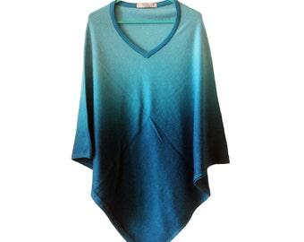 Cashmere Pashmina Poncho - Blue, Wool Poncho, Soft And Warm, Made in Nepal