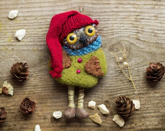 owl brooch needle felted owl owl accessory animal brooch  owl pin wild animal