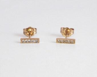 Bar Diamond Earrings, Round diamond gold earrings,14k gold, everyday, simple jewelry