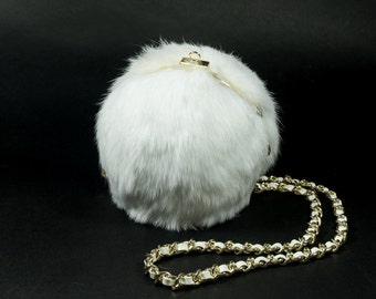 White Clamshell Fur Pompom Purse