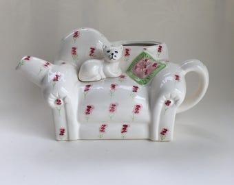 Vintage Cat Teapot, Flower Vase, Kitty sitting on couch Vintage teapot