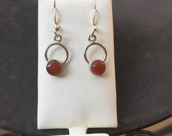 Silver red onyx earrings