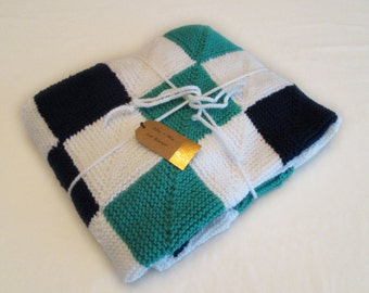 Green and Navy Checkered Baby Blanket