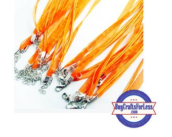 Ribbon CORD necklace, ORANGE +FREE SHiPPiNG & Discounts*