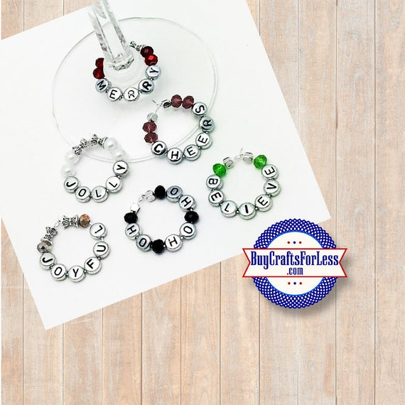 CHRISTMAS Wine or Bottle Charms, Napkin Rings, Set of 6  **FREE U.S. SHIPPING**