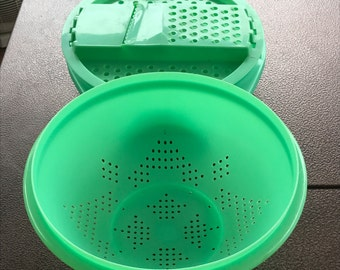 Vintage Tupperware Colander and Tupperware Lettuce, Cabbage, Cheese Shredder Bowl 2 Pc