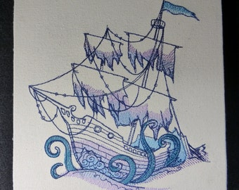 Ocean Blue Tattered Ship Embroidered wall hanging