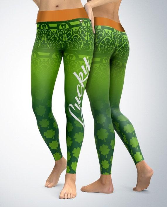 St. Patrick's Day Lucky Clover Leggings Womens Leggings