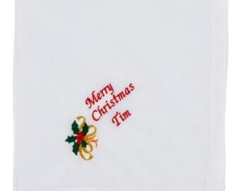 Personalised Men's Handkerchiefs  - Monogrammed Mens Handkerchief - Christmas Handkerchief - Christmas Gift For Him