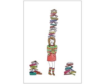 Bookworm print, various sizes