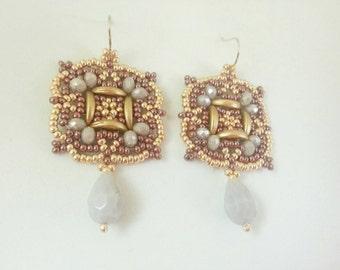 handmade earrings OOAK lilac gold