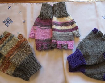 Fingerless Gloves Mittens Wrist Warmers Hand Knitted Mixed Colours