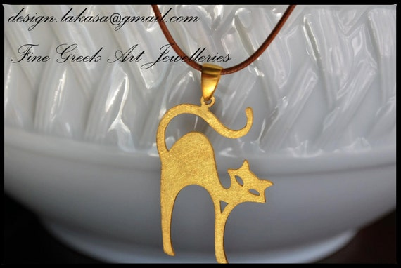 Necklace Cat Silver 925 Gold-plated Jewelry Handmade