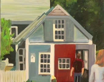 Shop in Marblehead, MA, oil on canvas - original work - figurative painting