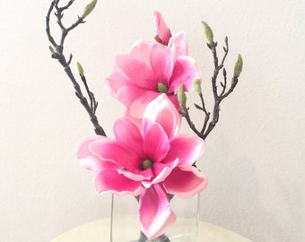Clearance - Faux Pink Magnolia in Glass Vase