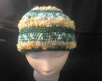 Hand crocheted wool hat with mohair in greens and yellows.  PSH26S