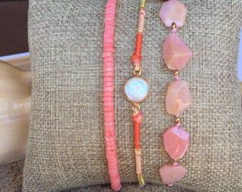 Bracelet set, opal, mother of pearl, Pink, rose bracelet, bracelet sets, beach bracelet set, ocean bracelet sets