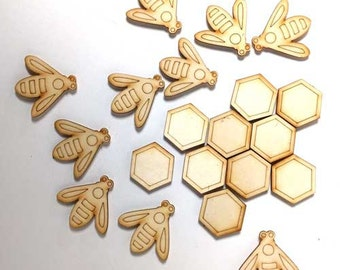 Bees and Honeycomb Fridge Magnets