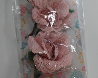 Rose Pink Burlap Flowers