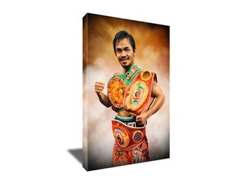 FREE SHIPPING Manny Pacquiao Global Champ Canvas Art